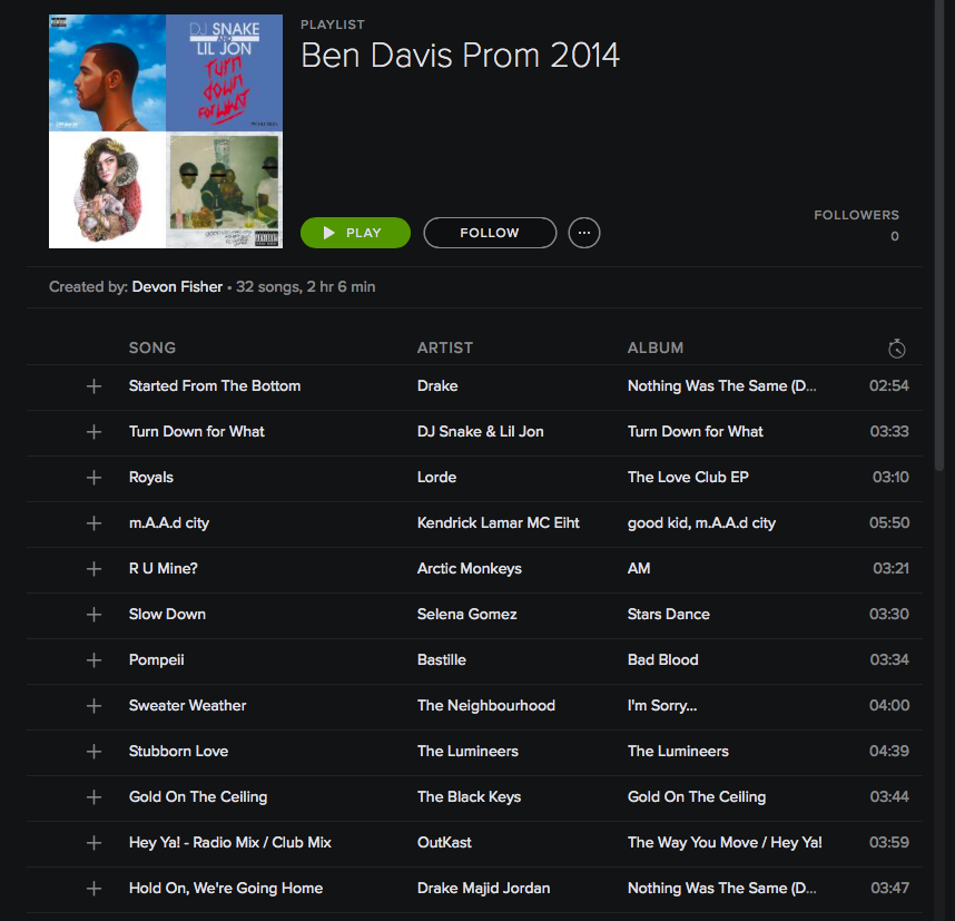 Prom Song Playlist