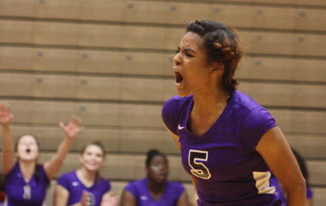 Junior Alana Burrell is fired up in Thursday's match against Terre Haute South.