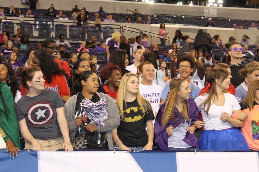 Purple Rain fans look on during Saturdays game at Lucas Oil.