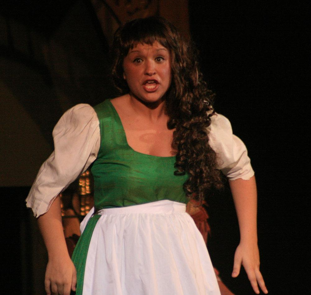 Cinderella, played by senior Ali Orebaugh, looks with disbelief during Friday's performance in the theatre.