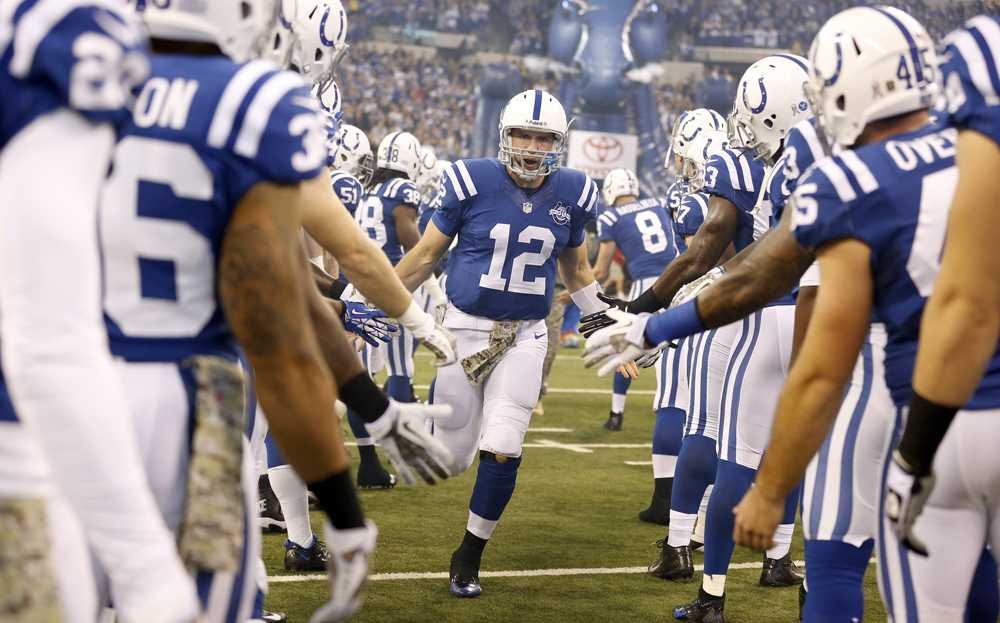 Indianapolis+Colts+quarterback+Andrew+Luck+heads+onto+the+field+during+a+recent+home+game.+Luck+and+the+Cols+lead+the+AFC+South+with+a+7-3+record+heading+into+the+final+six+games+of+the+season%2C+The+Colts+visit+Arizona+this+weekend.