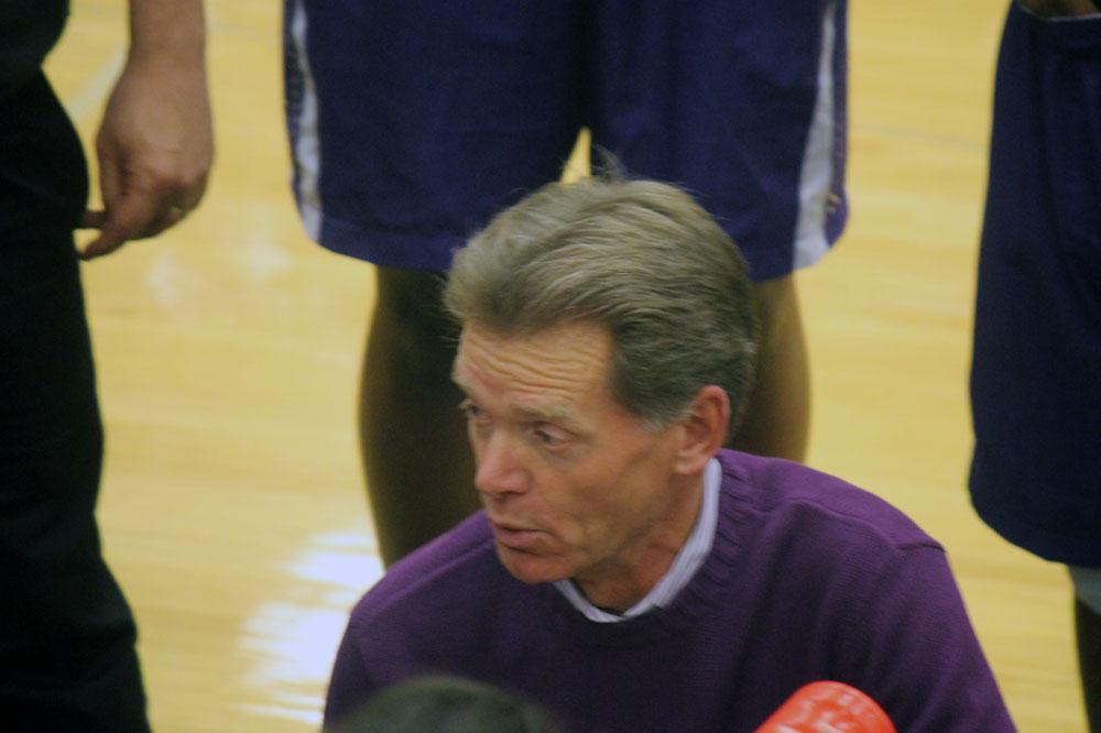Coach Joe lentz makes a point during second-half action.