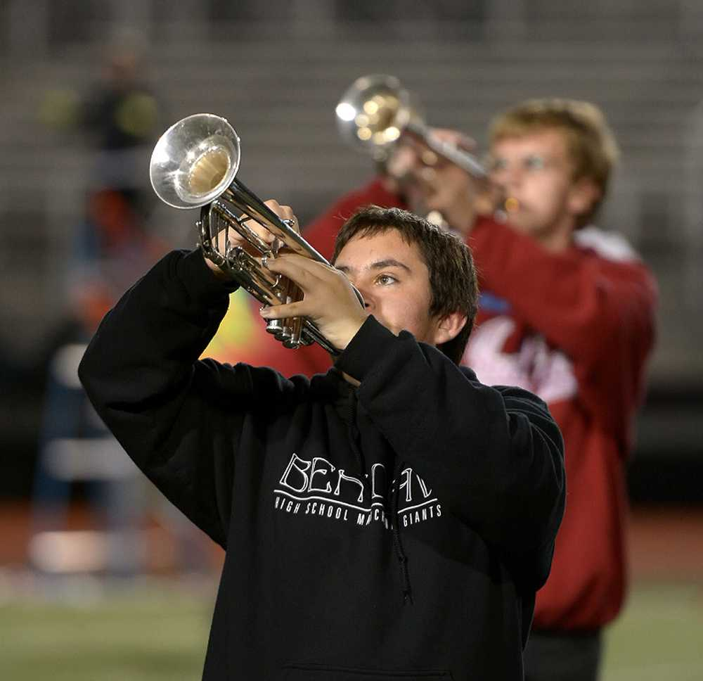 Sophomore Zach Camp during a recent band practice.