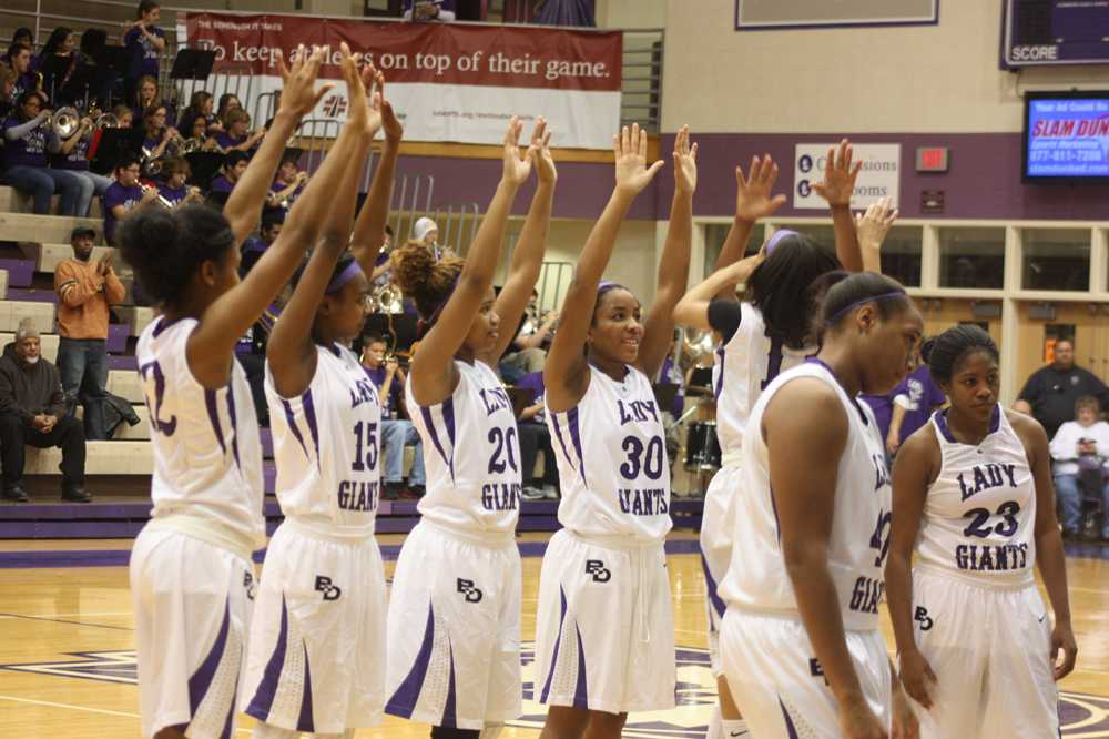 The girls get excited prior to hosting Lawrence North on Dec. 6.