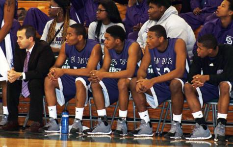 The bench looks on during a 82-44 win at Northwest on Nov. 30.