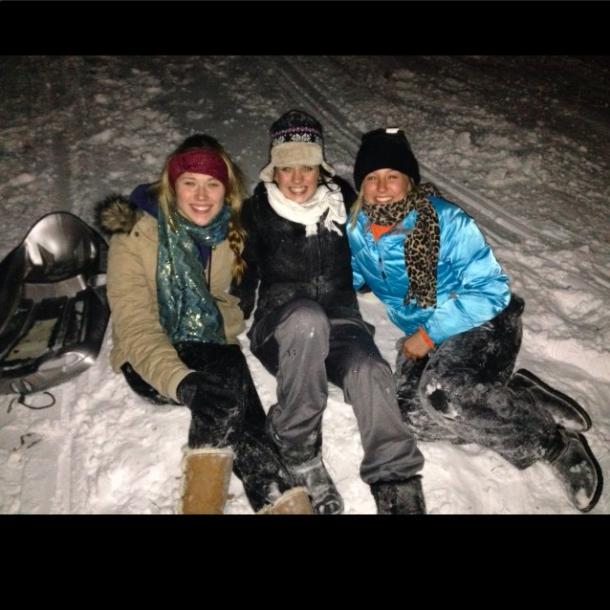 Autumn Miller, Erin Rayman and Brooke Faulkner pose after sledding.