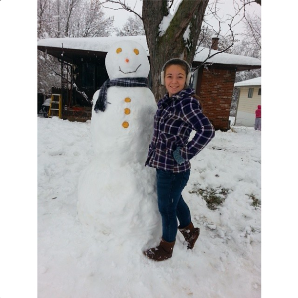"""@imjust_agirl2: """"The snowman my stepdad and I built thats taller than I am."""