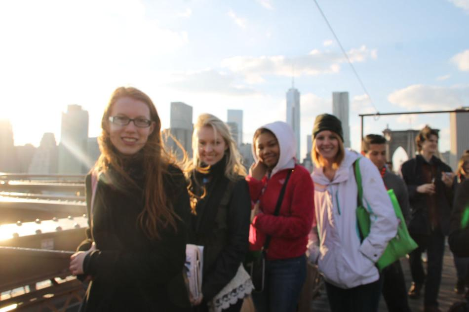 Sophomore Emily Rasmussen (from left), senior Ashley Shuler, sophomore Marissa Fentress-Lowe and junior Lacey McLaughlin brave the wind while walking across the Brooklyn Bridge during their trip to the 90th Annual CSPA convention.