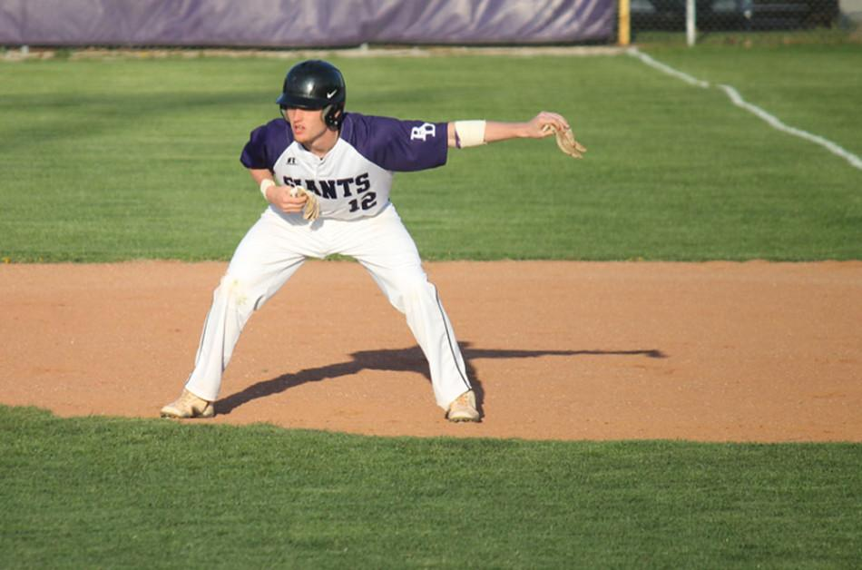Sophomore Jimmy Kizaer takes a lead at first base.