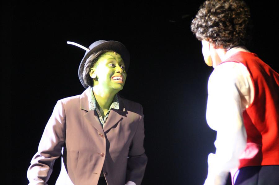 The Talking Cricket (junior Destinee Thornton) and Pinocchio (sophomore Romeo Barrientos).