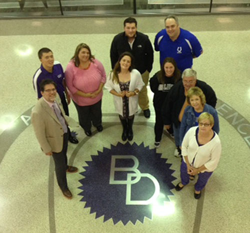 The Ben Davis Alumni Council is (left to right) Mike Lile '87, Cole Crouch '13, Shannon Schrock Rose '97, Anne Gross '11, Kelly Johns Hartman '96, Carl Finchum '55, Jackie Ferguson Deppe '72, Cookie Howard Vargo '62  Back:  Chase Seals '10, Jon Easter '93.