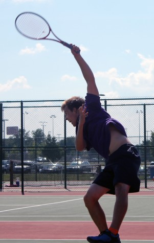 Junior Ian Dieters serves during a recent match. The Giants are 5-2 and host Plainfield on Tuesday.