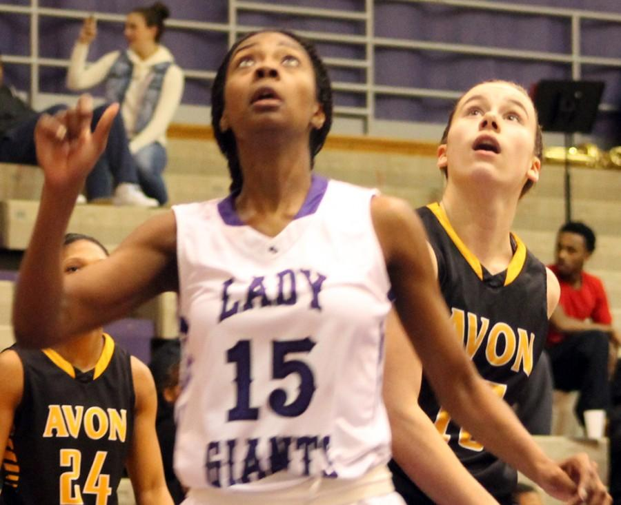 Junior Eryn Young looks up during Thursday's 50-28 win over Avon.