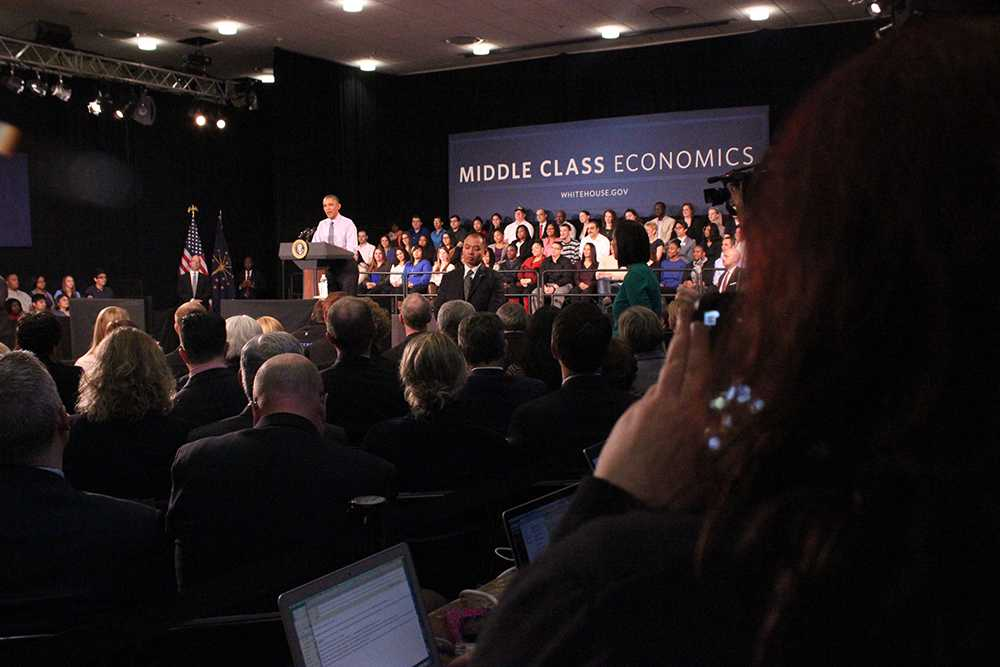 Middle Class Economics was the backdrop of Friday's town hall meeting at Ivy Tech with President Barack Obama.