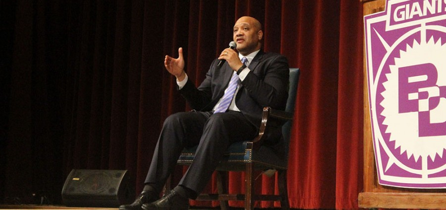 Congressman Andre Carson talks to students Monday morning in the theatre.