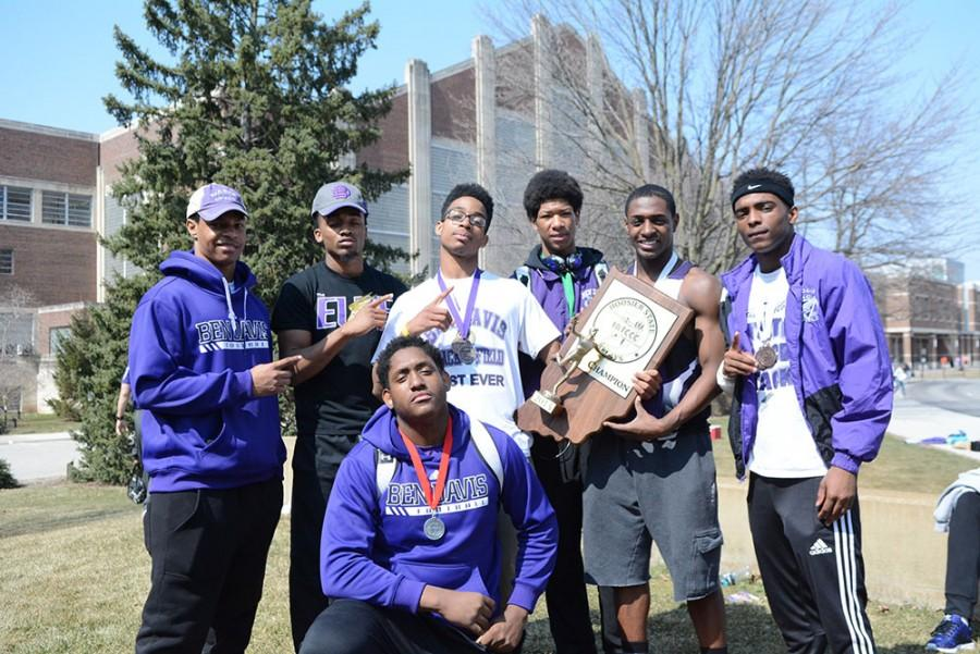 Members of the boys track team pose outside Saturday afternoon after winning  the Hoosier State Relays Indoor State Championship.