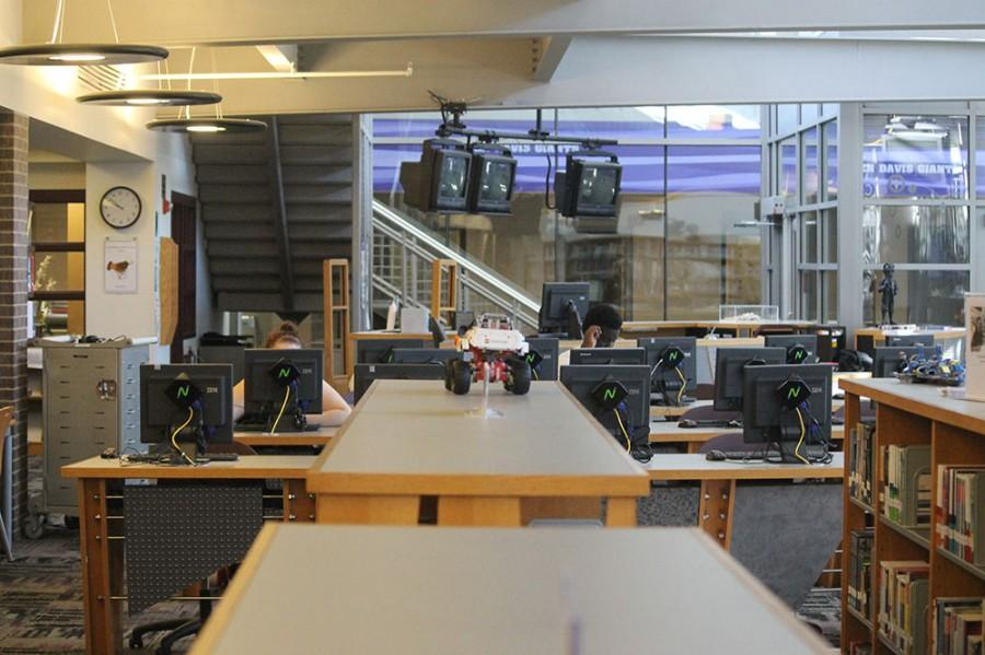 The media center offers students a quiet place to study,.
