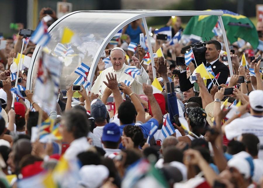 Pope Francis arrives to celebrate Sunday Mass at the Plaza de la Revolucion in Havana, Cuba, on Sunday.