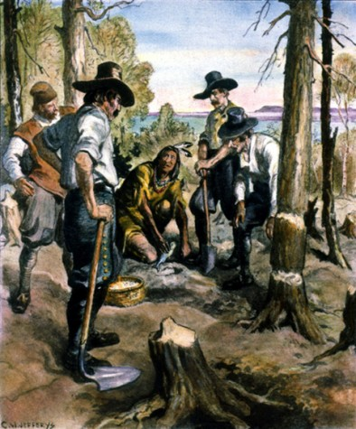 GR547 SQUANTO TEACHING PILGRIMS.  Squanto teaching the principles of corn culture to the pilgrims. Drawing by Charles W. Jefferys.