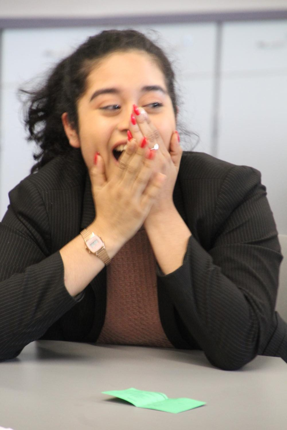 Senior Evelyn Sanchez reacts upon hearing her name announced as the 2018 International Student Journalist of the Year.