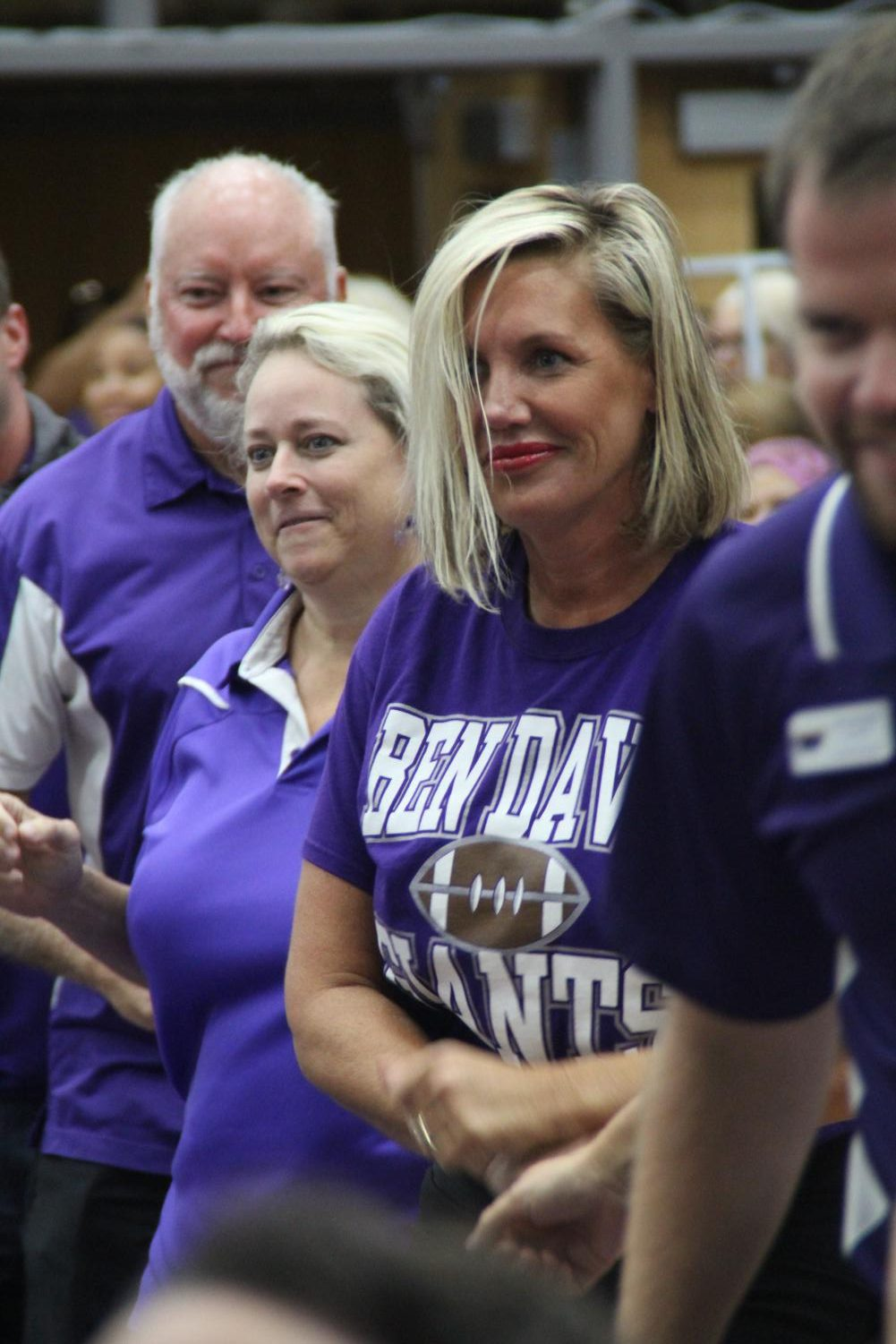 Principal Sandra Squire takes part in the opening day festivities in the main gym. Squire is entering her seventh year as principal at Ben Davis.