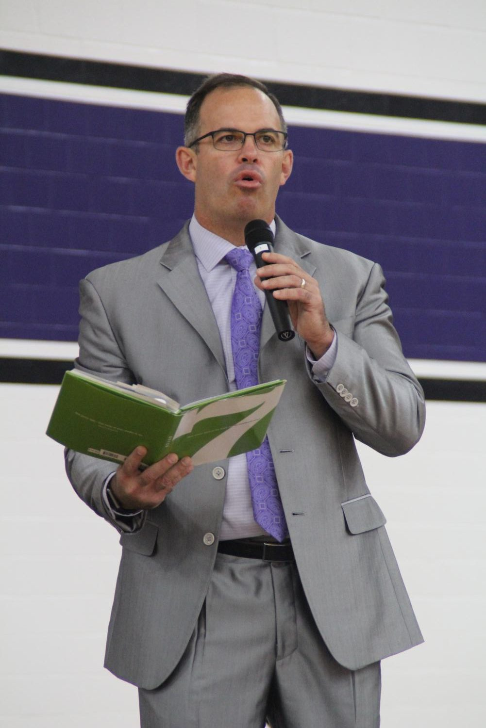 Dr. Jeff Butts addresses the crowd at the opening day ceremonies in July. This past weekend he was named the top superintendent in Indiana.