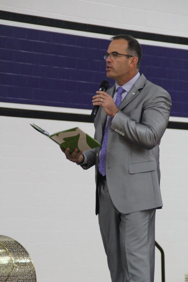 Dr.+Jeff+Butts+addresses+the+crowd+at+the+opening+ceremony+for+the+2018-19+school+year.+Today+he+was+announced+as+one+of+four+finalists+for+the+National+Superintendent+Award.