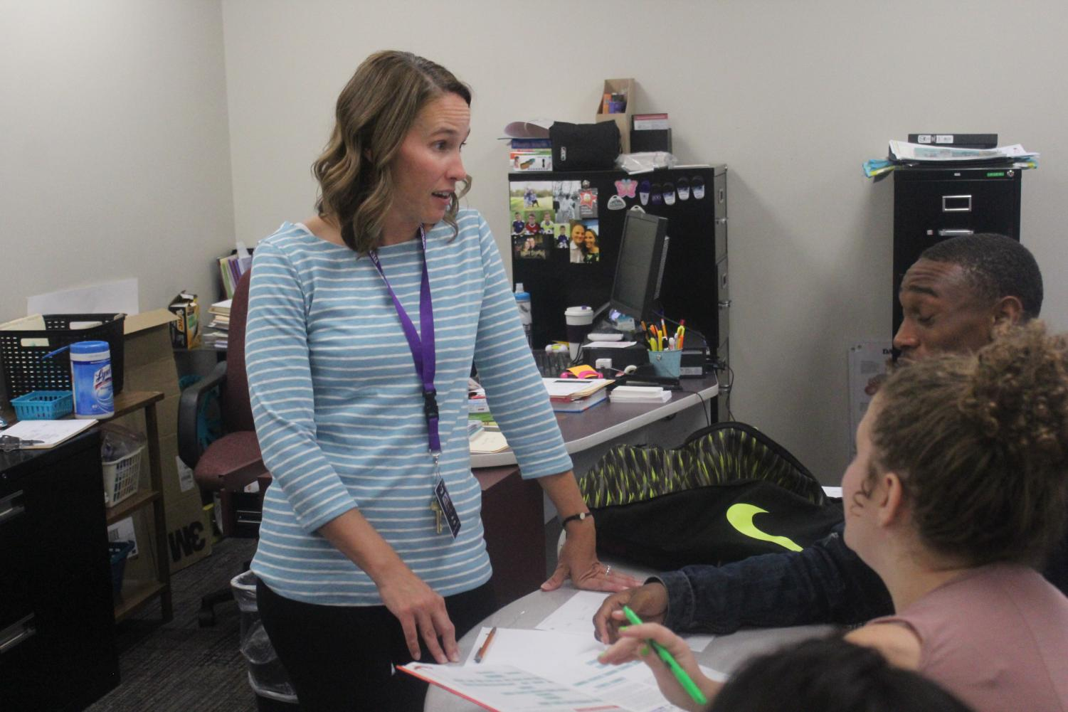 Danelle Chin spends her first day teaching in the Area 31 Career Center. Chin was one of our school nurses last year.