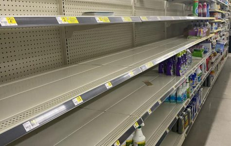 Shelves in stores have begun to go empty as people use their time at home to sanitize and clean.