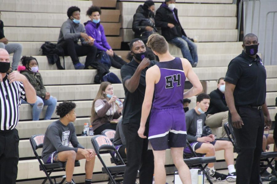 Coach+Don+Carlisle+greets+sophomore+Zane+Doughty+prior+to+a+game+at+Beech+Grove.+The+Giants+are+6-8+and+face+a+tough+weekend+ahead.