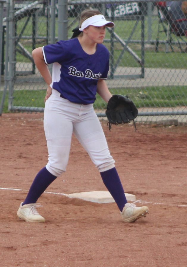 Senior Kelsey Landwerlen plays first base in Saturdays invitational at Ben Davis.